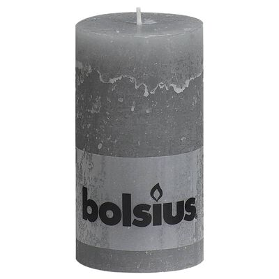 Bolsius Rustikální válcové svíčky 6 ks 130 x 68 mm světle šedé