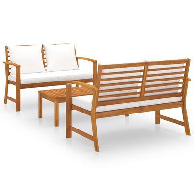 vidaXL 3dílná zahradní sedací souprava s poduškou masivní akácie