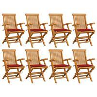 vidaXL Zahradní židle s červenými poduškami 8 ks masivní teak
