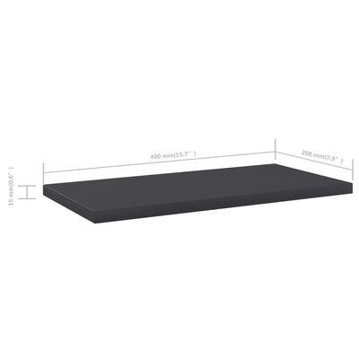 vidaXL Přídavné police 4 ks šedé 40 x 20 x 1,5 cm dřevotříska