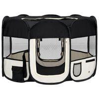 vidaXL Skládací ohrádka pro psy s taškou černá 110 x 110 x 58 cm