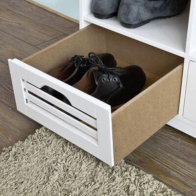 SoBuyFSR36-W Truhla na boty lavička na sezení se 3košíky a přihrádkami