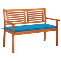 vidaXL 2-Seater Garden Bench with Cushion 120 cm Solid Eucalyptus Wood (315268+43202)
