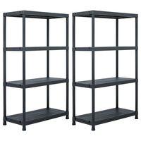vidaXL Skladové regály 2 ks černé 200 kg 80 x 40 x 138 cm plastové