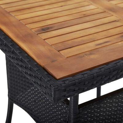 vidaXL Zahradní jídelní stůl černý polyratan a masivní akáciové dřevo
