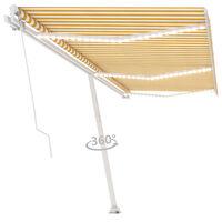 vidaXL Ručně zatahovací markýza s LED světlem 600 x 300 cm žlutobílá