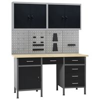 vidaXL Pracovní stůl se čtyřmi nástěnnými panely a dvěma skříňkami