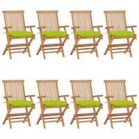 vidaXL Zahradní židle s jasně zelenými poduškami 8 ks masivní teak