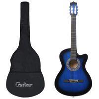 vidaXL 12dílný folkový akustický kytarový set se 6 strunami modrý 38''
