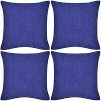 4 modré povlaky na polštářky bavlna 40 x 40 cm