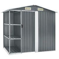 vidaXL Zahradní domek s regálem šedý 205 x 130 x 183 cm železo
