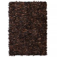 vidaXL Koberec shaggy z pravé kůže 120 x 170 cm hnědý