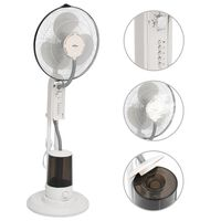 vidaXL Pedestal Mist Fan 3 Wind Speeds White