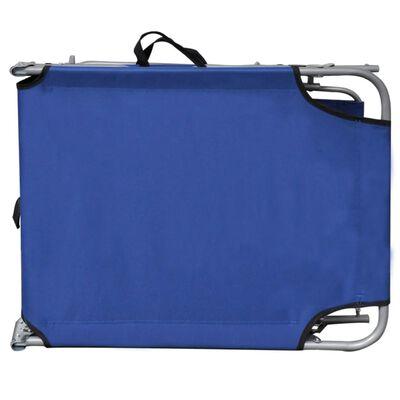 vidaXL Skládací opalovací lehátko se stříškou ocel a textil modré