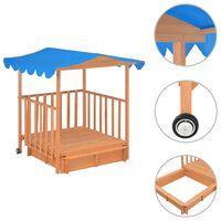 vidaXL Dětský domeček s pískovištěm jedlové dřevo modrý UV50