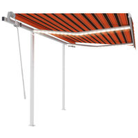 vidaXL Ručně zatahovací markýza s LED světlem 3,5x2,5 m oranžovo-hnědá