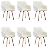 vidaXL Jídelní židle 6 ks krémové textil