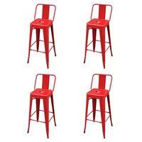 vidaXL Barové stoličky 4 ks červené ocel