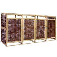 vidaXL Přístřešek na 4 popelnice borové dřevo a proutí