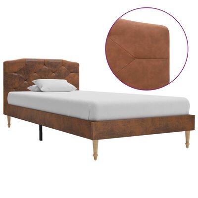 vidaXL Rám postele hnědý umělá broušená kůže 90 x 200 cm