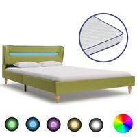 vidaXL Postel s matrací z paměťové pěny LED zelená textil 140 x 200 cm