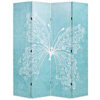 vidaXL Skládací paraván 160 x 170 cm motýl modrý