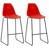 vidaXL Barové židle 2 ks červené plast