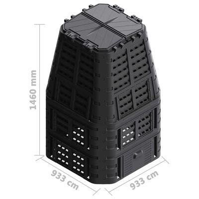 vidaXL Zahradní kompostér černý 93,3 x 93,3 x 146 cm 1000 l