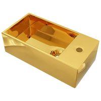 vidaXL Umyvadlo s přepadem zlaté 49 x 25 x 15 cm keramika