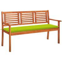 vidaXL 3místná zahradní lavice s poduškou 150 cm masivní eukalyptus