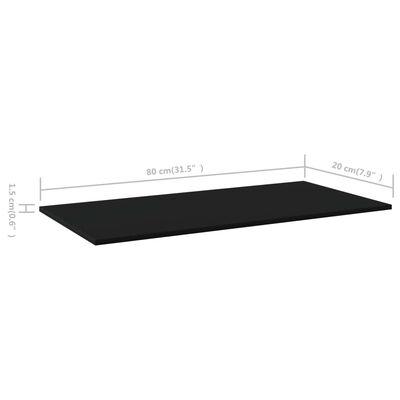 vidaXL Přídavné police 4 ks černé 80 x 20 x 1,5 cm dřevotříska