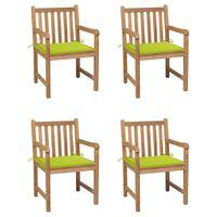 vidaXL Zahradní židle 4 ks jasně zelené podušky masivní teak