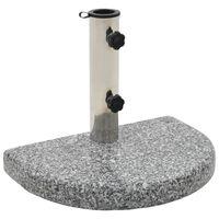 vidaXL Stojan na slunečník žulový 10 kg půlkruh šedý