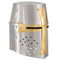 vidaXL Středověká křižácká helma pro LARPy replika stříbro ocel