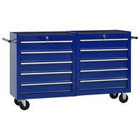 vidaXL Vozík na nářadí s 10 zásuvkami ocelový modrý