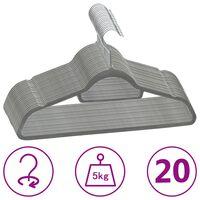 vidaXL 20 ks šatních ramínek protiskluzové šedé samet
