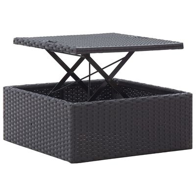 vidaXL Zahradní postel se střechou černá 200 x 60 x 124 cm polyratan