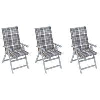 vidaXL Zahradní polohovací židle s poduškami 3 ks masivní akácie