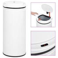 vidaXL Odpadkový koš s automatickým senzorem 80 l uhlíková ocel bílý
