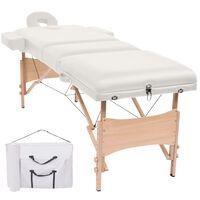 vidaXL 3zónový skládací masážní stůl tloušťka 10 cm bílý