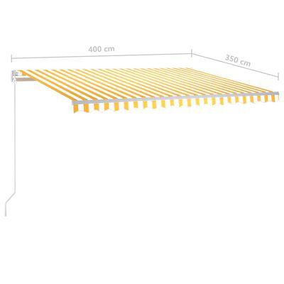 vidaXL Ručně zatahovací markýza 400 x 350 cm žlutobílá