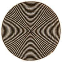 vidaXL Ručně vyrobený koberec z juty spirálový design černý 120 cm