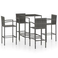 vidaXL 5dílný zahradní barový set polyratan šedý