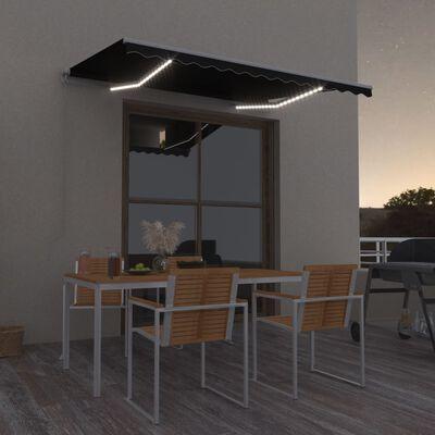 vidaXL Ručně zatahovací markýza s LED světlem 350 x 250 cm antracitová