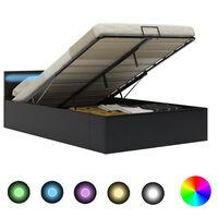 vidaXL Rám postele s LED úložný prostor černý umělá kůže 120 x 200 cm