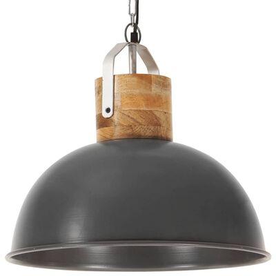 vidaXL Industriální závěsné svítidlo šedé kulaté 42 cm E27 mangovník