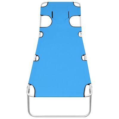 vidaXL Skládací opalovací lehátko s podhlavníkem ocel tyrkysové