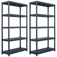 vidaXL Skladové regály 2 ks černé 500 kg 100 x 40 x 180 cm plastové