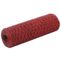 vidaXL Pletivo ke kurníku ocel PVC vrstva 25 x 0,5 m červené