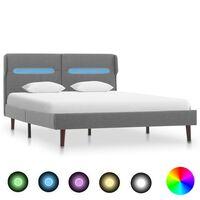 vidaXL Rám postele s LED světlem světle šedý textil 120 x 200 cm